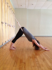 Adho Mukha Svanasana - lower rope inserted into upper rope