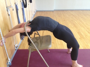 Urdhva Dhanurasana - lifting up from the chair